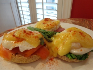 L to R: Eggs Royale, Benedict and Florentine
