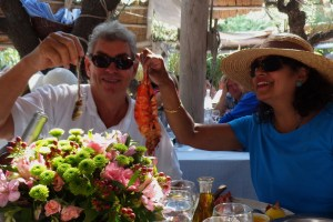 Size really does matter as Nigel's sardine is trumped by our hostess's langouste