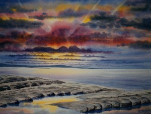 Nunavut sunset - an original watercolour