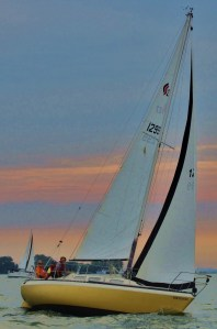Peccavi racing at sunset