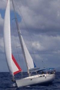 On a beam reach off St. Lucia