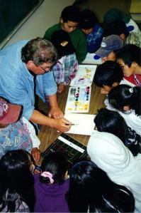 Volunteer artist with the Inuit kids