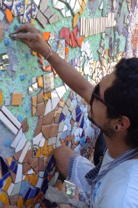 Daniel at work on his mosaic