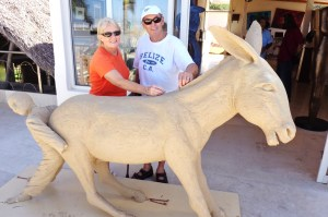 Diane and Nigel make a very small contribution to the burro scuplure