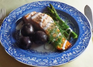 Baked salmon with blue spuds and buttered asparagus