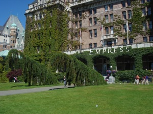 Strange trees in front of the venerable Empress Hotel
