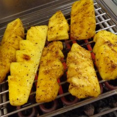 Grilling pineapple on the BBQ