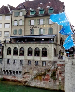 Restaurant Spillmann hangs over the Rhine