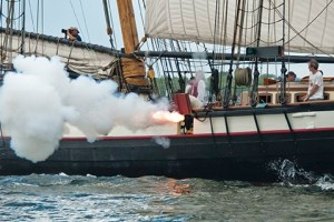 Privateer Lynx fires a salute