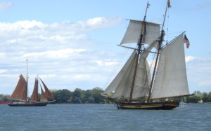 Roseway and Pride of Baltimore II tack across Toronto Harbour in 2010