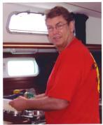 Preparing eggs benny under sail near St. Maarten