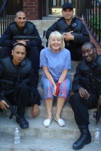 Diane entertains the movie SWAT team